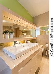 廁所, 內部, 現代, 照明