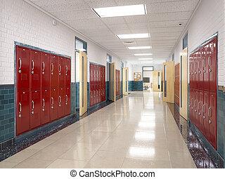 廊下, 3d, interior., イラスト, 学校