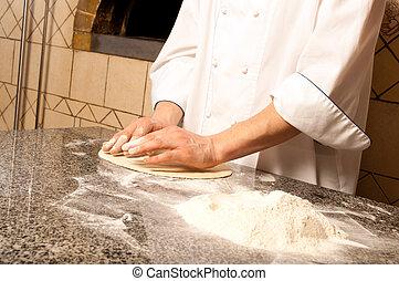 廚師, 做, a, 比薩餅, 基礎
