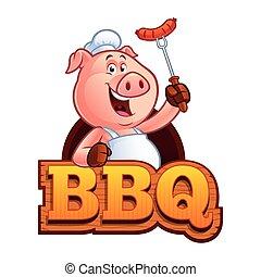 廚師, 卡通, 豬