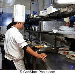 廚師, 忙, 工作