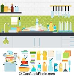 廚房用具, 骯髒, 洗滌槽