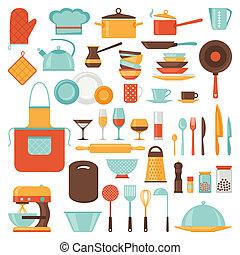 廚房, 以及, 餐館, 圖象, 集合, ......的, utensils.