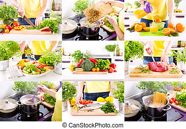 廚房, 烹調, 產品, 人的手