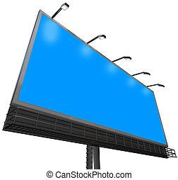 廣告欄, 戶外, 簽署, 做廣告, 通訊, 藍色的背景, copyspace