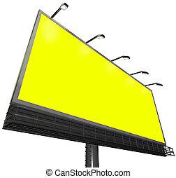 廣告欄, 戶外, 簽署, 做廣告, 通訊, 黃色的背景, copyspace