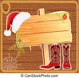 廣告欄, 框架, 由于, 聖誕老人, hat.vector, 聖誕節, 背景, 為, 正文