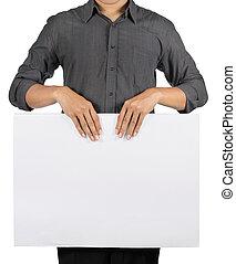 廣告, 板, 藏品, 空白, 白色, 人