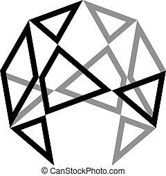 廣場, 三角形, tridimensional, 球, 2, 建立, 幻想