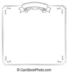 廣場, 白色 背景, 由于, 第一流, 邊框, 以及, 帶子