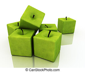 廣場, 綠色, apples.