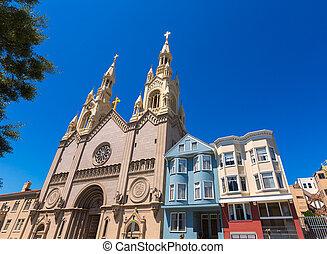 廣場, san, 華盛頓, 街, francisco, 教堂, 保羅, 彼得