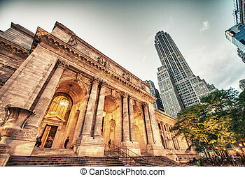 廣角, 摩天樓, 現代, -, 新, 街道, 高, york., skyline., 曼哈頓, 看法