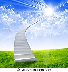 延伸, 梯子, 白色的天空, 明亮