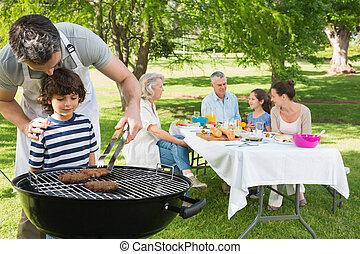 延長, 公園, バーベキュー, 昼食を食べる, 父, グリル, 息子, 家族