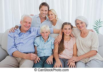 延長, 微笑, カメラ, 家族