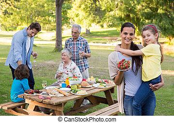 延長, 持つこと, 屋外, 昼食, 家族