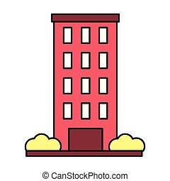 建物の正面, 白い背景, 外面
