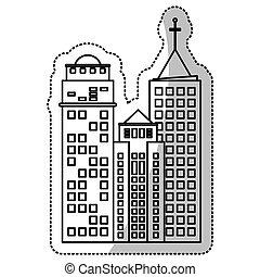建物の正面, 線, 建設, 切口