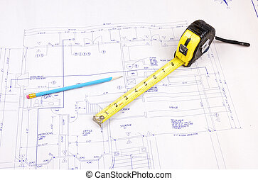 建物は 計画する, そして, 巻き尺