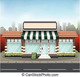 建物デザイン, 日除け, 緑, れんが, 店