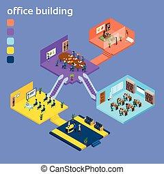 建物内部, 等大, オフィス, 3d