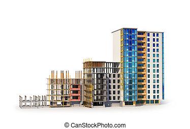 建物構造, construction., イラスト, 3d