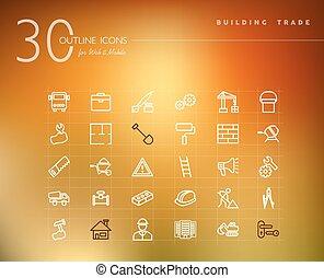 建物貿易, セット, アウトライン, アイコン