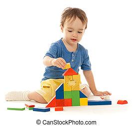 建物, かわいい, わずかしか, ブロック, カラフルである, 男の子, 木製である, 隔離された, 白, 遊び
