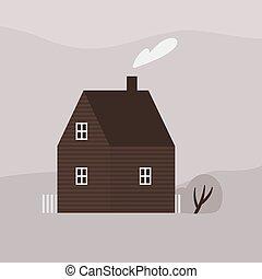 建物, かわいい, illustration., 暮らし, architecture., 家, 郊外, 現代, two-storey, 平ら, コテッジ, 生態学的, ベクトル, scandic, 木製である, ファサド, モノクローム, 支持できる, farmhouse., ∥あるいは∥, 煙突