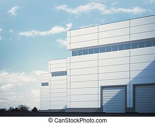 建物, ∥で∥, ローラー, シャッター, doors., 3d, レンダリング