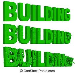 建物, ぼろぼろに崩れる, 単語, 破壊