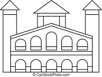 建物, アイコン, スタイル, アウトライン, 歴史的