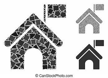 建物, アイコン, 政府, 旗, きずもの, 小片, 構成
