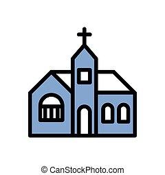 建物, アイコン, 教会, カトリック教, ファサド