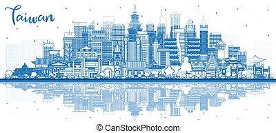 建物, アウトライン, 都市, 台湾, スカイライン, reflections., 青