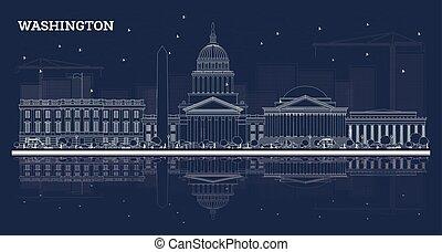 建物, アウトライン, washington d.c., スカイライン, reflections., 白
