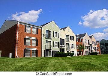 建物, アパート, カラフルである