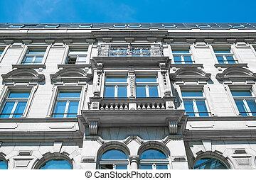 建物, アパート, 古い, ベルリン, ファサド, 元通りにされる