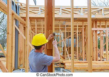 建物, アパート, 新しい, 仕事, コマーシャル, 2, 屋根, クルー, 建設, オレゴン, sheeting, 物語