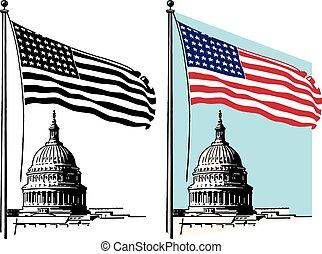 建物, アメリカの旗, 国会議事堂, &