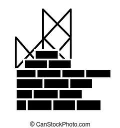 建物, イラスト, 壁, 隔離された, 印, ベクトル, 黒い背景, アイコン, 建設, れんが