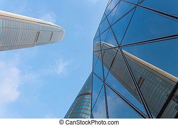 建物, オフィス, の上, 見る, 超高層ビル, 外面