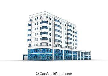 建物, オフィス, イラスト, 3d
