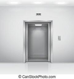 建物, オフィス, クロム, 金属, エレベーター, 現実的, 開いた