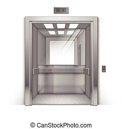 建物, オフィス, クロム, 金属, 隔離された, エレベーター, 現実的, ベクトル, 背景, 鏡, 開いた