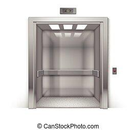 建物, オフィス, クロム, 金属, 隔離された, エレベーター, 現実的, ベクトル, 背景, 開いた