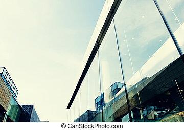 建物, オフィス, 壁, 現代, ガラス, 外面