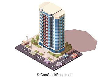 建物, オフィス, 大きい, cars., 大きい, 駐車