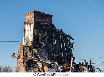 建物, オフィス, 残物, 破壊された, 火, 焼き尽くされた
